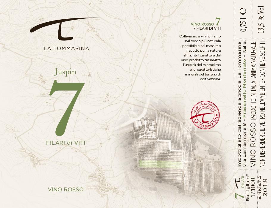 etichetta Juspin Vino Naturale La Tommasina